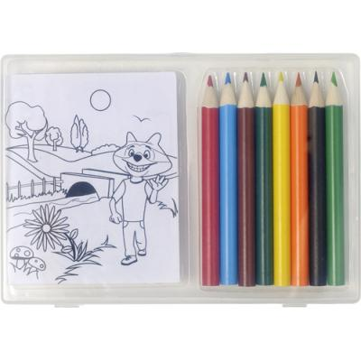 Image of Set of colouring pencils and colouring sheets