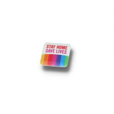 Image of STAY HOME BUTTON BADGE - 25MM SQUARE
